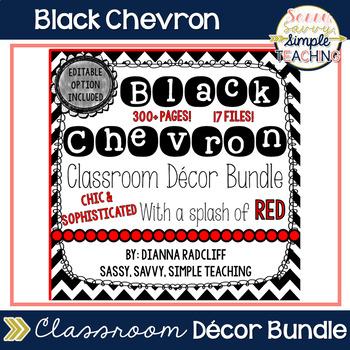 Black Chevron Classroom Decor: Editable Option (With a spl