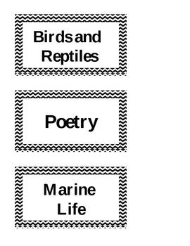 Black Chevron Library Labels