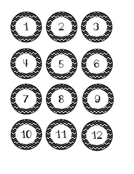 Black Chevron Number Labels