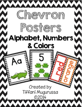 Black Chevron Posters Alphabet, Numbers, Colors and Shapes
