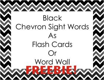 Black Chevron Sight Words FREEBIE