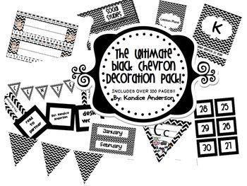 Black Chevron Ultimate Decoration Pack