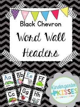 Black Chevron Word Wall Headers