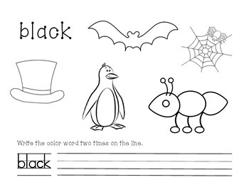 Black Color and Write Worksheet