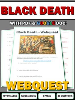 Black Death - Webquest and Map Assignment with Key (Plague