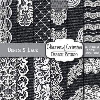 Black Denim and White Lace Digital Paper 1473