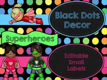 Black Dots Superheroes: Editable Small Labels