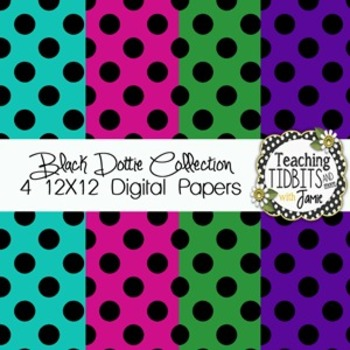 Digital Papers - Black Dottie Collection {4 Free 12X12 Dig
