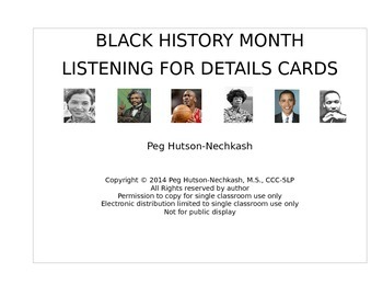 Black History Listening Comprehension Cards: Freebie