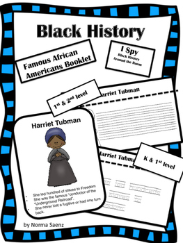 Black History - Famous African Americans Booklet and I Spy