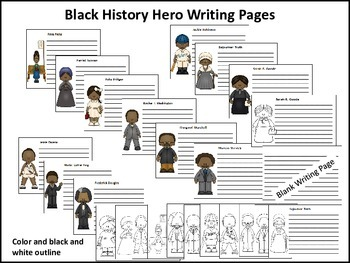 Black History Hero Writing Pages - 12 Heroes