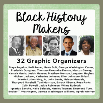 Black History Month 26 Biography Graphic Organizers Resear