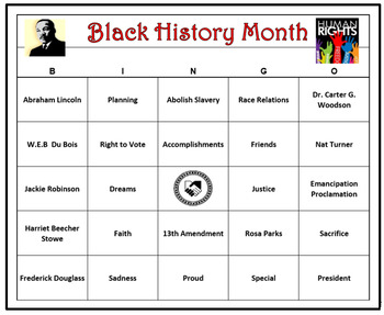 Black History Month Bingo Game- 60 Cards Printable, Includ