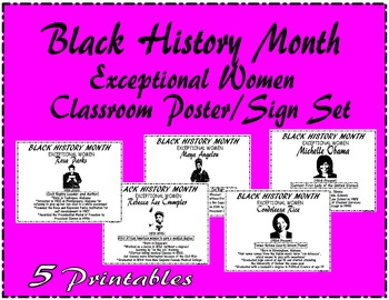 "Black History Month ""Exceptional Women"" Bulletin Board/Sig"