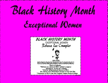 "Black History Month ""Exceptional Women"" Rebecca Lee Crumpler"