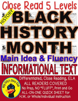 Black History Month FACTS Differentiated 5 Level Passages