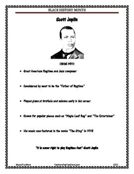 Black History Month Famous Musicians Scott Joplin