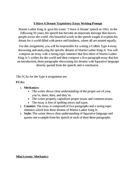Black History Month 'I Have A Dream' Expository Essay Coll