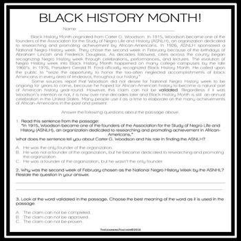 Black History Month Passage
