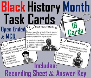 Black History Month Task Cards: Martin Luther King, Rosa P
