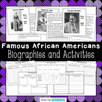 Black History Month Reading Comprehension Activities and T