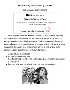 Black History Month Writing Prompt- Heroes