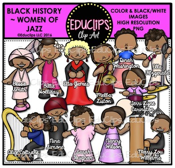 Black History ~ Women Of Jazz Clip Art Bundle {Educlips Clipart}