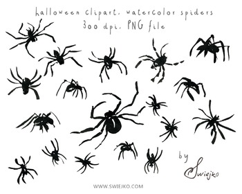 Black Ink Spiders, Halloween Clipart, Digital Watercolour,