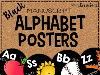 Black Manuscript Alphabet Posters Round