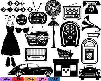 Black Monogram 50's Retro Vintage radio music sport cars C