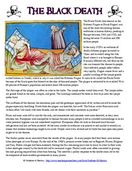 Black Plague Reading Worksheet