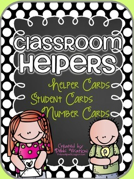 Black Polka Classroom Helpers Set: 5 Sets of Student Cards