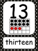 Black Polka Dot Number Wall Cards
