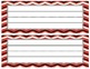 Black & Red Chevron Name Plates- with and without lines