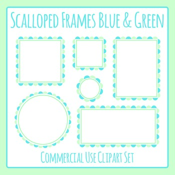 Scalloped Frames Borders Blue and Green Clip Art Set Comme