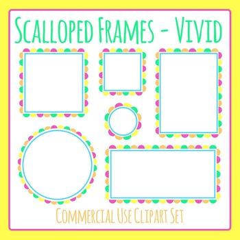 Scalloped Frames Borders Bright Colors Clip Art Set Commer
