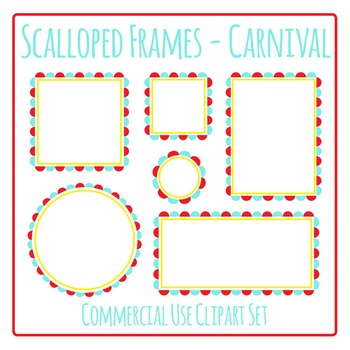 Scalloped Frames Borders Carnival Colors Clip Art Set Comm