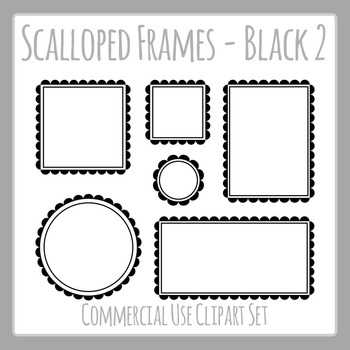 Black Scalloped Frames Borders Double Line Frames Clip Art