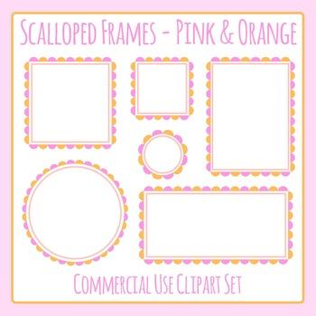 Scalloped Frames Borders Pink and Orange Clip Art Set Comm