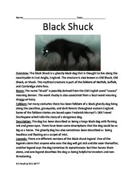 Black Shuck - Cryptid Mythical England Ghost Dog - Lesson