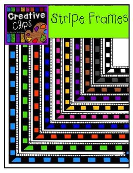 Black Stripe Frames {Creative Clips Digital Clipart}