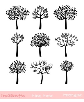 Black Tree Silhouettes Clipart, Trees with leaves silhouet