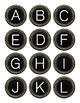 Black Typewriter Keys Digital Clipart Color