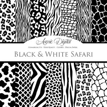Black & White Animal Print Digital Paper safari scrapbook