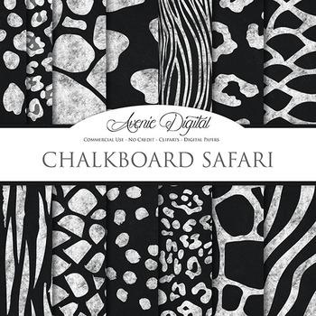 Black & White Animal Print chalkboard Digital Paper safari
