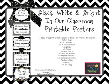 "Black White & Bright  ""In Our Classroom"" Display Posters"