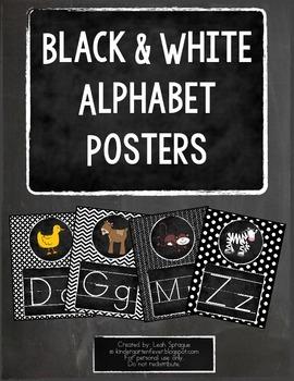 Black & White Chalkboard Alphabet Posters