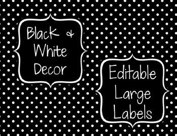 Black & White Decor: Editable Large Labels