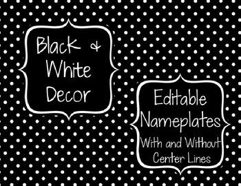 Black & White Decor: Editable Nameplates