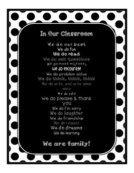 Black & White Decor: In Our Classroom, We Do Poster